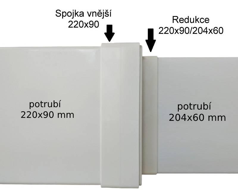 Redukce 204x60 mm na čtyřhranné potrubí 220x90 mm