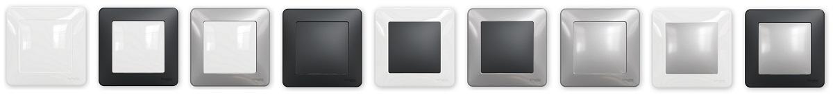 Barevné kombinace přístrojů a rámečků Sedna Design